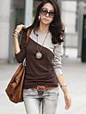 bloc de culoare tricou, gât ocazional cu maneca lunga pentru femei