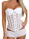 LuckyOne femei Lace Subtransparent Corset alb