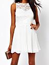 Dantelă Broderie plisată Mini rochie fara spate pentru femei