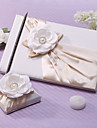 Guest Book Pen Set Satin Garden ThemeWithFaux Pearl Sash