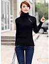 Femei asimetrice Button Turtle Collar pulover