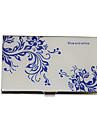 Personalizat albastru-alb model floare gravate Business Card Holder