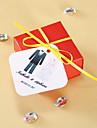 Tag-uri personalizate pătrați - Tuxedo și rochie (set de 36)