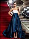 Linia -A Prințesă Fără Bretele Asimetric Satin Seară Formală / Gală Elegantă / Bal Militar Rochie cu Drapat de TS Couture®