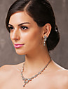 Beautiful Czech Rhinestones With Alloy Plated Wedding Necklace And Earrings Jewelry Set