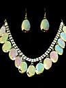 Frumos aliaj de aur cu un set de bijuterii Clear stras femei (inclusiv colier, cercei)