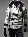 Langxin Fashion Oblique fermoar nit decorative Hoodie (Gray)