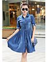 Dimensiunea plus rochie de femei, Oxford cârpă genunchi-lungime maneca lunga