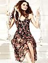 Sexy femei V-gât mâneci Bohemian Floral lung Dress Sundress