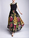 Femeii Fashion O-Neck Floral șifon Ball Gown Dress