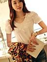 Femei Casual Round croșetat dantelă T-Shirt