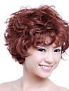 Capless korta hög kvalitet syntetiskt rödbrunt lockigt hår peruk
