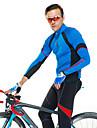 SANTIC Herr Långärmad Cykeltröja - Blå Cykel Tröja / Jacka, Snabb tork, UV-Resistent, Andningsfunktion Polyester, Lycra