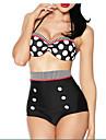 Pentru femei Acrilic Spandex Sutiene cu Întăritură Cu Susținere,Bikini Talie Înaltă Buline Retro Bulină polka