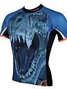 ILPALADINO Homme Manches Courtes Maillot de Cyclisme - Bleu Dinosaure Cyclisme Maillot Hauts / Top, Sechage rapide Resistant aux ultraviolets Respirable, Printemps Ete, 100 % Polyester