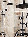 Antichizat Vană și Duș Duș Ploaie Duș De Mână Inclus Valvă Ceramică Trei găuri Două mânere trei găuri Bronz patinat , Robinete de Duș