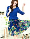 ORG femei Floral Print șifon Boemia Dress