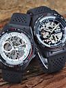 Bărbați Ceas Schelet ceas mecanic Riglă glisantă Gravură scobită Mecanism automat Silicon Bandă Luxos Negru