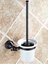 Suport Perie Toaletă Detașabil Antichizat Alamă Lemn 1 piesă - Hotel baie