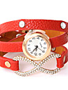 Herr Dam Quartz Armbandsur Mode PU Band Armbandsklocka Ledigt Svart