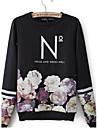 Femei Scrisori de imprimare de flori tricouri de design rotund guler Fleece mâneci lungi