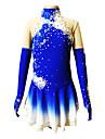 Femme Robe de Patinage Artistique Robe de Patinage Manches Longues Jupes Respirable Elastique Patinage sur glace Patinage Artistique