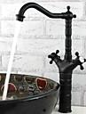 Tradițional Bar / Prep Επικαθήμενη Valvă Ceramică O gaură Două mânere o gaura Bronz patinat, Robinet Bucătărie