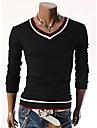 oamenii Nono guler mânecă lungă de culoare de contrast subțire T-shirt