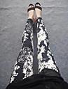 Women's Fashion Black with White Flowers Pattern Leggings