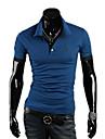 LangTuo coreean Animal broderie cu maneci scurte Slim T Shirt (Albastru)