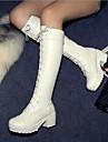 여성용 구두 마이크로 섬유 가을 / 겨울 클래식 청키 굽 / 블록 힐 대략 45.72cm-50.8cm / 무릎 높이 부츠 용 블랙 / 화이트 / EU40