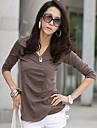 femei v gât mânecă lungă de culoare solide bumbac bluză