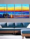 sträckt arbetsytan konst vackra hamnen landskapsmålning set om 4