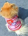 Katter Hundar T-shirt Purpur Rosa Hundkläder Sommar Hjärtan Randig Mode
