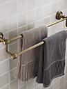 ダブルタオルバー、アンティーク真鍮仕上げ真鍮材、バスルームアクセサリー