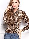 femei leopard sifon imprimare bluză rever cămașă top