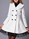 Women\'s Double Breasted Mesh Hemline Woolen Coat
