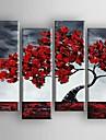 HANDMÅLAD Blommig/Botanisk vilken form som helst Duk Hang målad oljemålning Hem-dekoration Fyra paneler