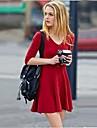 Women's V Neck 3/4 Sleeve Slim Dress (More Colors)