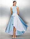 Linia -A În V Asimetric Tricot Bloc de Culoare Bal / Seară Formală Rochie cu Cruce / Pliuri de TS Couture®