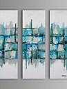 Hang målad oljemålning HANDMÅLAD - Abstrakt fantasi Europeisk Stil Moderna Duk Tre paneler
