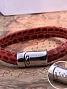 personifierade gåvan läder rep armband i rostfritt stål graverad smycken