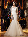 Trompeta / Sirena Joya Larga Encaje Vestidos de novia hechos a medida con Boton por LAN TING BRIDE® / Ilusion / Transparente