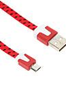 Micro USB 2.0 USB 2.0 Adaptateur de câble USB Tressé Plat Câble Pour 100 cm Nylon