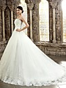 Ball Gown Sweetheart Chapel Train Corded Lace Custom Wedding Dresses with Appliques Buttons by LAN TING Express