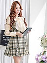 Pink Doll® Women\'s Fashion Plaid Pattern Woolen Dress