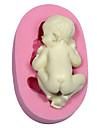 bakformen sovande bebis Paj Kaka Tårta Silikon Miljövänlig Hög kvalitet 3D
