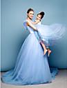 Haine Bal Trenă Capelă Satin Tulle Bal Seară Formală Rochie cu Flori Detalii Perlă de TS Couture®