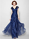 A-Line V Neck Floor Length Organza Mother of the Bride Dress with Beading / Appliques / Lace by LAN TING BRIDE®