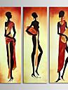 HANDMÅLAD Människor Duk Hang målad oljemålning Hem-dekoration Tre paneler
